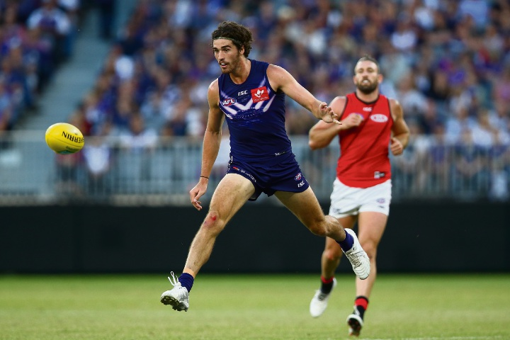 Fremantle defender Alex Pearce is unsure whether he will be tasked with stopping Tom Lynch on Saturday, despite starring in the win over Essendon over the Easter weekend. Picture: Paul Kane/Stringer