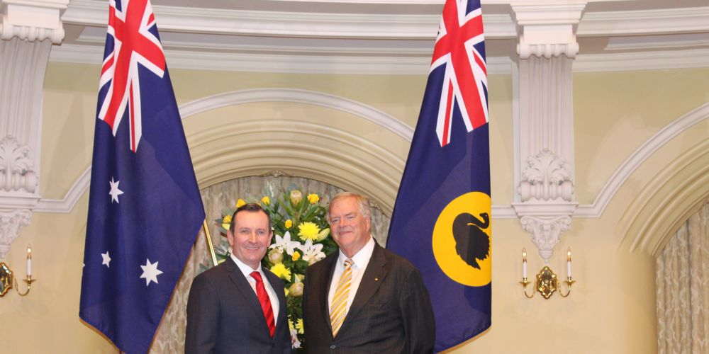 Premier Mark McGowan with new Governor Kim Beazley.