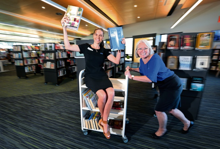 L-R: Kerryn Martin (Branch Librarian) and Jasmine Wittber (Library Officer). The Katharine Susannah Prichard (KSP) Library in Boya, which opened just over a year ago, has been a great success in the area. In the past 12 months, there have been 2451 new members. Photo: David Baylis