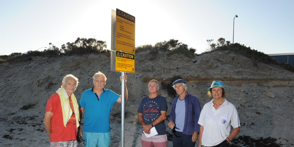 Warning signs are not enough say daily beach users (l-r) Paul Martin, Brian Jakovich, Paul Gebbedy, Theo Koning and Myra Stanbury. Picture Jon Bassett