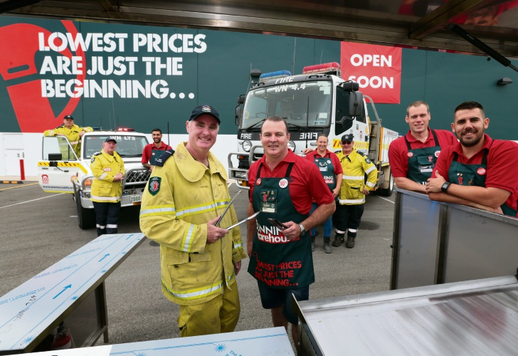 Wanneroo Central Volunteer Bush Fire Brigade and Bunnings staff Mike Greenaway, John Leahy, Mitch Sacco, Shane Sheely, Marty Hornbuckle, Monika McCarthy, Ian Hammond, Alex Hack and Paul O'Neill. Picture: Martin Kennealey.
