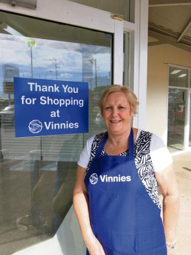 Lesley Worner outside the new Vinnies Rockingham Shop.