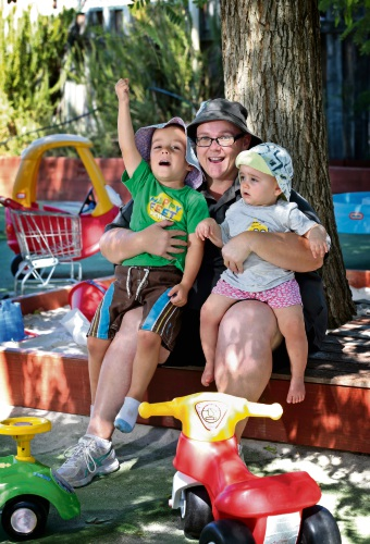 William Kennedy (4, left), A Step Ahead Early Learning Centre manager Leeanne Rough and Evelyn White (1). Picture: David Baylis.