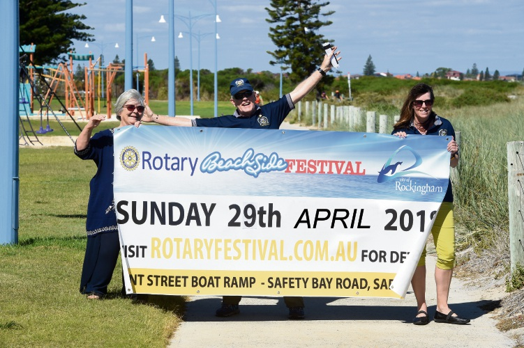 Palm Beach Rotary members Rae Heston, Kevin McDonnell and Claudia Wells. Picture: Jon Hewson