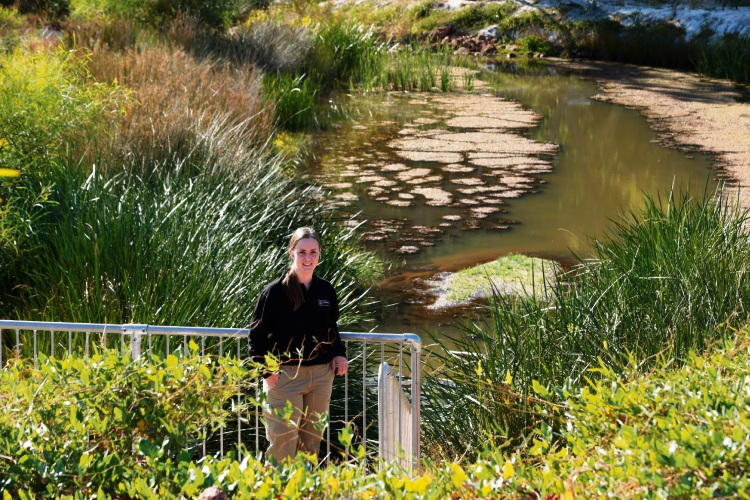 City of Melville environment officer Kellie Motteram at Kaalitj-ngort Koondaam, a transformation of Brentwood Main Drain.