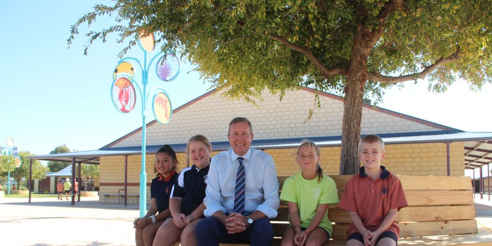Students Tahlei Moore and Ainnah Atienza, Baldivis MLA Reece Whitby, Troy Barnsley-Platt and Bella Cavanagh.