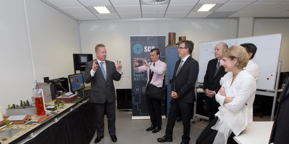 Project director Glenn Murray speaking at the ECU Cyber Security CRC launch. Picture: Bruce Hunt d481477