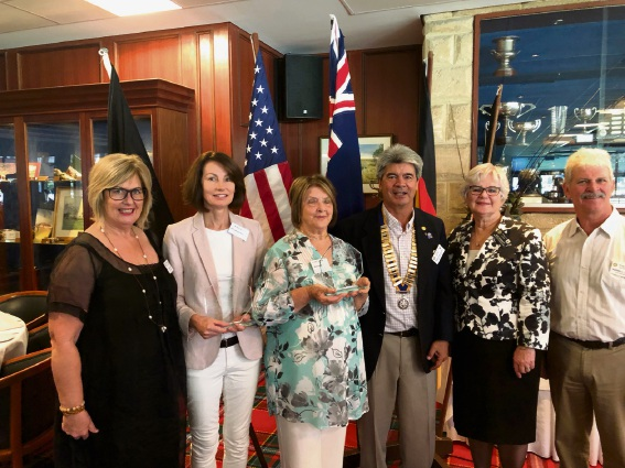 Julie Broad (left), Kelly Backshall, Marjorie Barker, Mill Point Rotary President Rick Sneeuwjagt, South Perth Mayor Sue Doherty and Russell Lanyon.