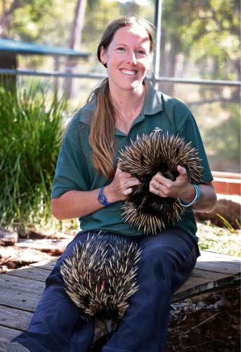 Tasha Hennings holding Elle (left) and Aruba the echidnas. Picture: David Baylis d481430