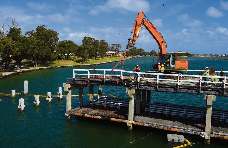 Members of the public are being offered timber from the Old Mandurah Traffic Bridge.