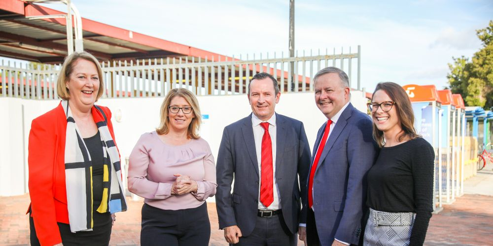 Midland MLA Michelle Roberts, Transport Minister Rita Saffioti, Premier Mark McGowan, Shadow Minister for Transport and Infrastructure Anthony Albanese and Labor candidate for Hasluck Lauren Palmer are welcoming Bill Shorten's commitment to help fund a new Midland Train Station.