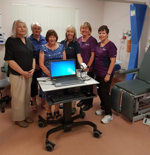 Anna Kujundzic, Lorraine Tucker and Jeanne Lawler with senior podiatrist Linda Richardson-Varley and wound care nurses Vicki O'Neille and Lyn Butler.