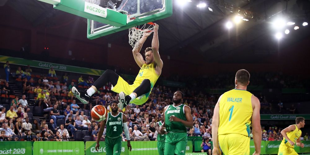 Angus Brandt of Australia slam dunks during the Preliminary Basketball round match between Australia and Nigeria on day five of the Gold Coast 2018 Commonwealth Games at  on April 9, 2018 on the Cairns, Australia.  (Photo by Matt King/Getty Images).