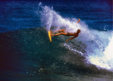 Ian Cairns during his surfing career doing his famous 'snap-back' turn in Hawaii.  Photo: Steve Wilkings.