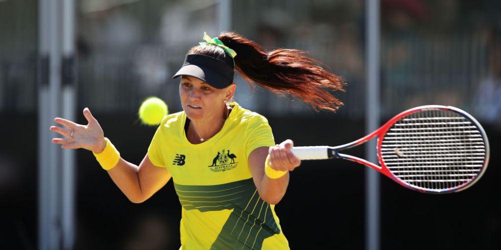Casey Dellacqua in Fed Cup action for Australia. Photo: Getty