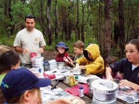 Children can get out into the bush for a series of school holiday activities on the Bibbulmun Track this April. Picture: Camp Kitchen Track