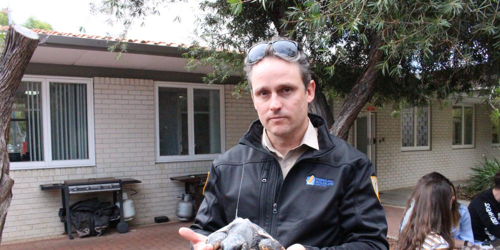 Department of Biodiversity, Conservation and Attractions wildlife officer Cameron Craigie with one of the turtles.