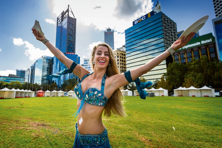 Phynia Anastas at Elizabeth Quay, new home to the Perth Glendi Greek Festival. Picture: Will Russell d481596