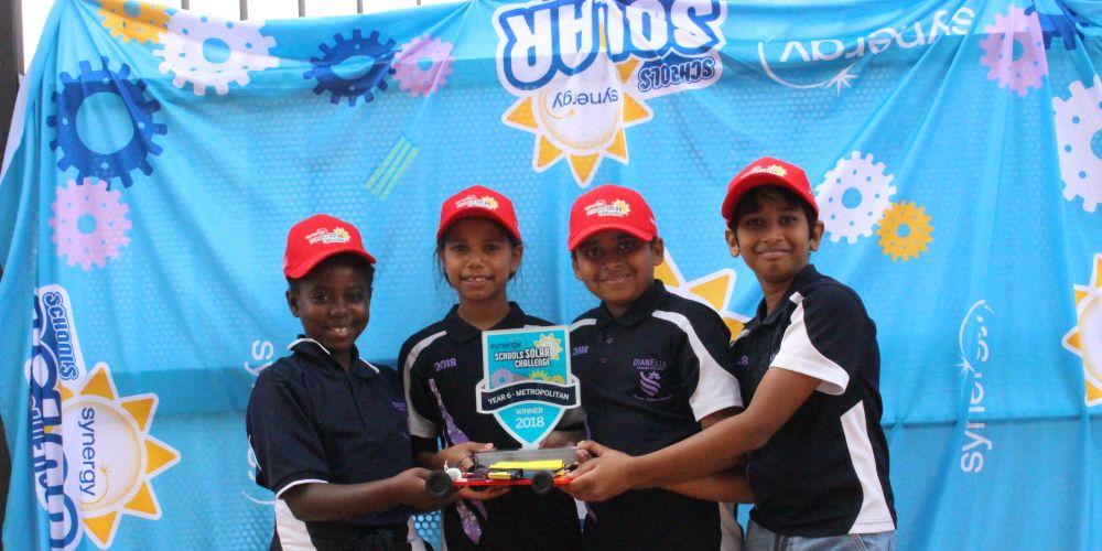 Dianella Primary School students Delphine Manishimwe, Kirsty Slater, Smit Patel, Urvish Sathavara with the Year 6 trophy.