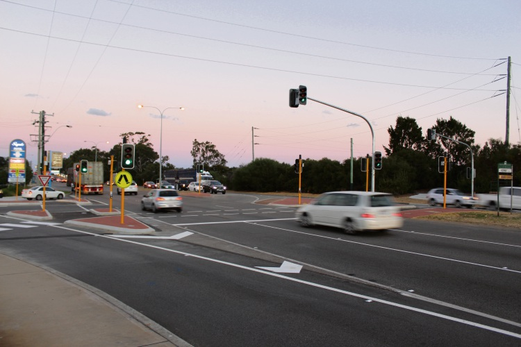 New traffic lights at the intersection of Leach Highway and Norma Road are operational. Picture: Bryce Luff.