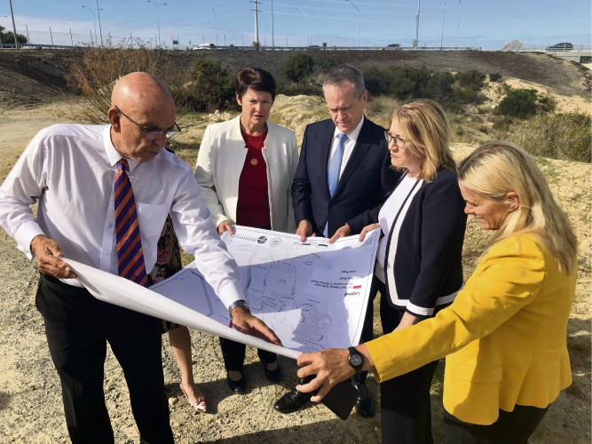 Butler MLA John Quigley, Labor candidate for Pearce Kim Travers, Opposition leader Bill Shorten, WA Transport Minister Rita Saaffioti and Wanneroo MLA Sabine Winton.