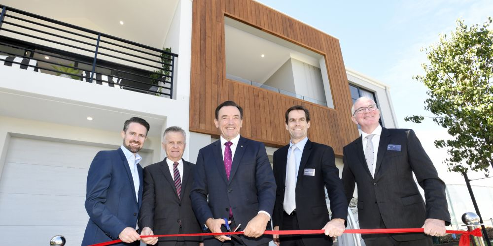 Now Living's Troy Gorton, Ellenbrook Joint Venture's David Rowe, Housing Minister Peter Tinley, Department of Community's Greg Cash and LWP's Danny Murphy at today's opening of micro lot homes in Ellenbrook.