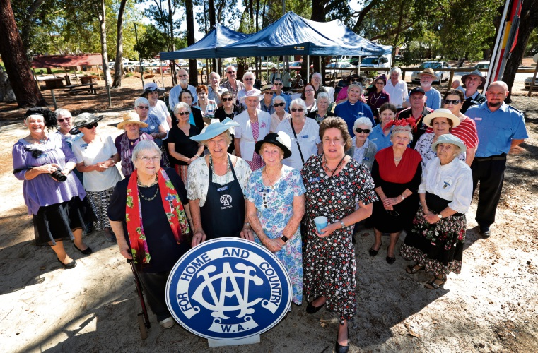 Mundaring CWA members Bid Bowen (Vice President), Margaret Rudwick (Secretary), Marj Moyle (Treasurer) and Diane Rudwick (President). Mundaring CWA is celebrating its 80th year. Picture: David Baylis d480558