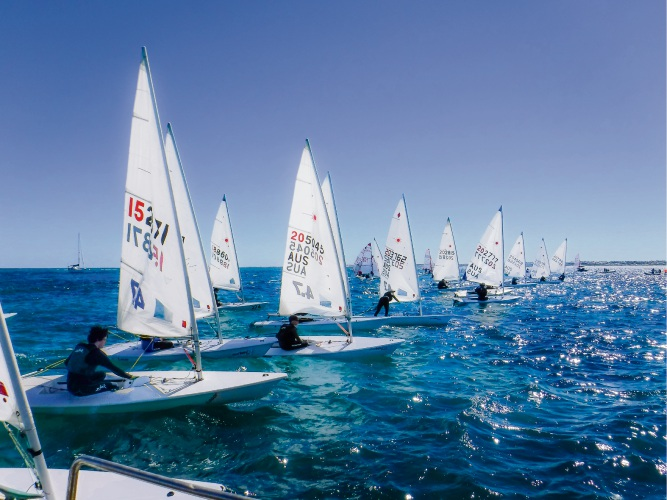 The laser fleet about to hit the line at Hillarys' first Easter dinghy coaching regatta. Pictures: Hillarys Yacht Club