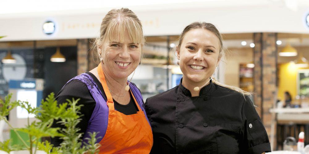 Lisa Passmore (horticulturist & landscape designer) and Kelly Ramsay (caterer & MKR grand finalist) Picture: Brett Canet-Gibson
