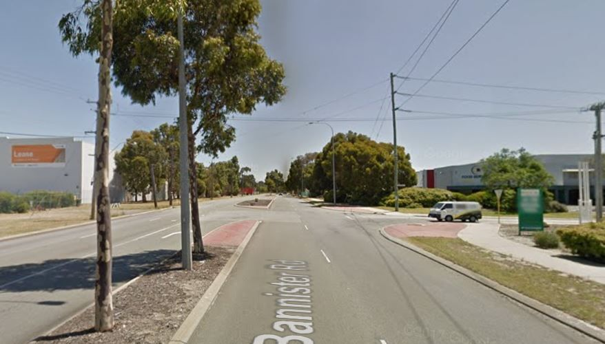 The intersection of Vulcan Road and Bannister Road in Canning Vale where a motorcyclist and car crashed.