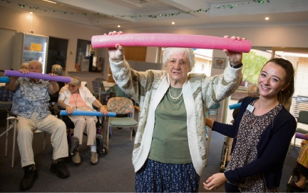 Gracehaven resident Betty Coates undertakes a series of exercises with the help of Therapy Partner Zoe Jordan.