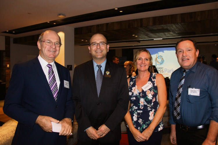 City of Belmont Mayor Phil Marks and councillors, George Sekulla, Jenny Davis and Robert Rossi at the Belmont Business Park update session.