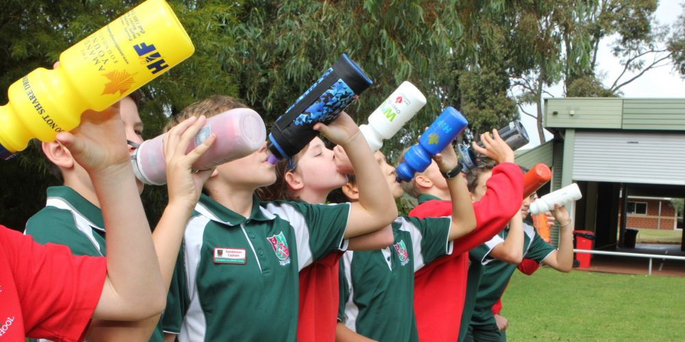 Gooseberry Hill Primary School students quenching their thirst with water.