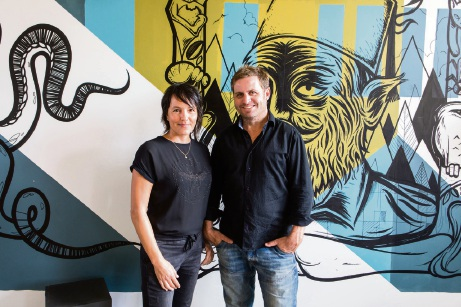 F Space Owner Sabine Albers and Marketing Manager Jason Normandale.