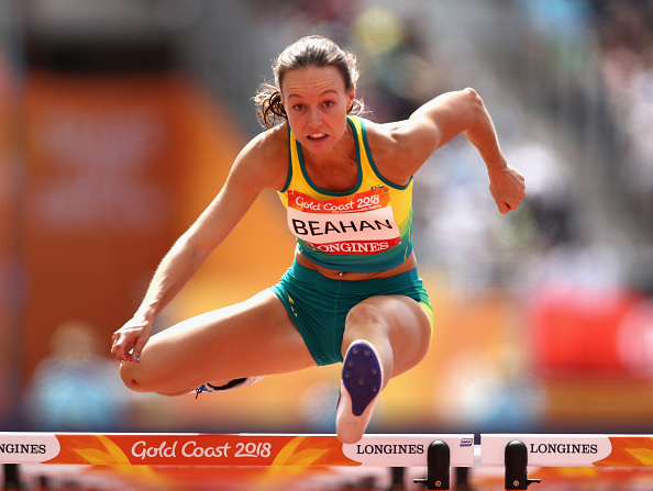 Innaloo's Brianna Beahan records a personal best in heat 1 of the women's 100m hurdles at the Commonwealth Games on the Gold Coast. Picture: C ameron Spencer/Getty Images.