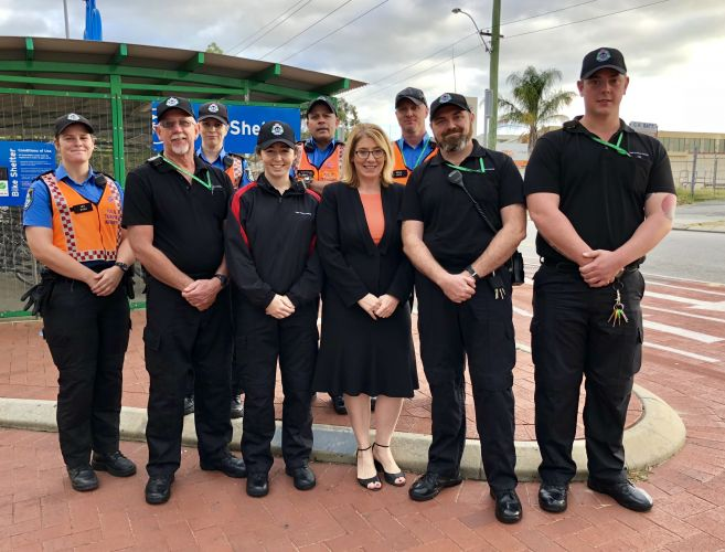 Rita Saffioti (front, third from right) with new and existing Transperth transit officers.