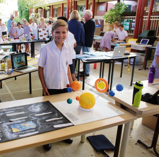 St John's Primary School Year 5 student Luke Durkin with his project.