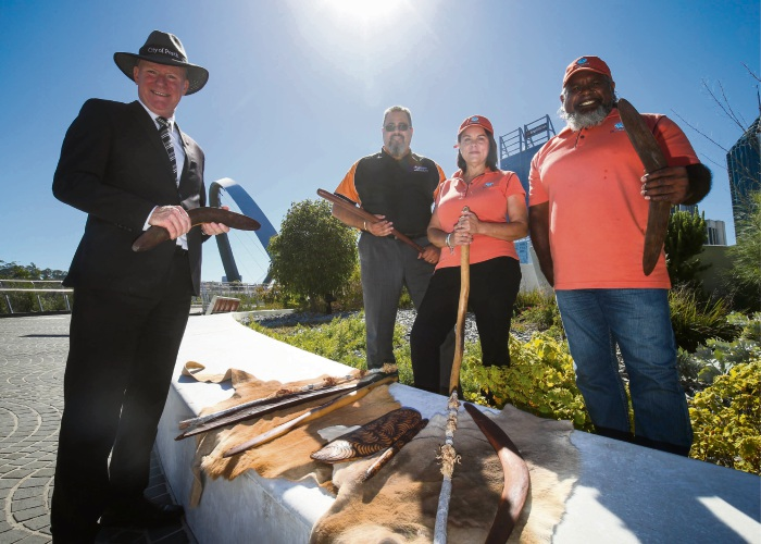 City of Perth chief executive Martin Mileham with WAITOC chief executive Robert Taylor and Go Cultural Aboriginal Tour operators Walter McGuire and Meg McGuire. Picture: Matt Jelonek.