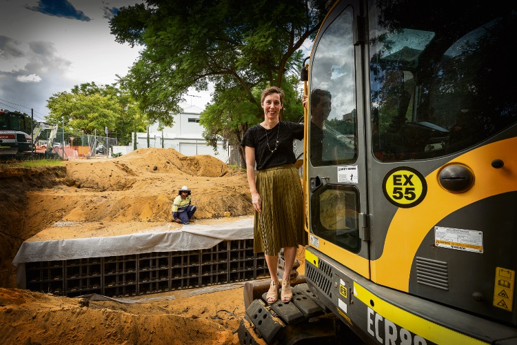 Vincent Mayor Emma Cole at the site of the drainage sump being converted to a park in North Perth. Picture: Will Russell.
