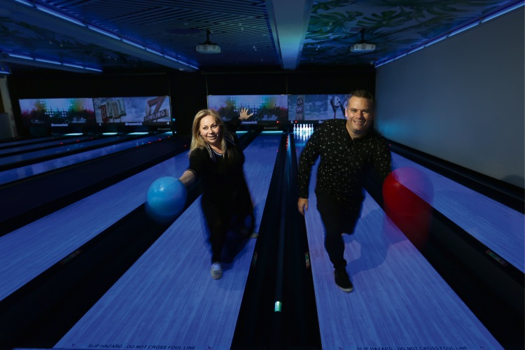 Linda Heaton (owner/director) and Jamie Rhodes (owner/CEO) The Lookout pop-up bar is re-opening as the Lookout Bar Bowling Bites on Friday with eight bowling lanes. Picture: Andrew Ritchie d481696
