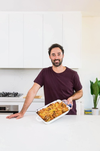 Andy Allen with his Beef Sausage Pasta Bake.