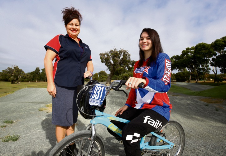 Southside BMX president Sandra Winfield with daughter and club rider Kesia Savill, wearing the club's new uniforms.