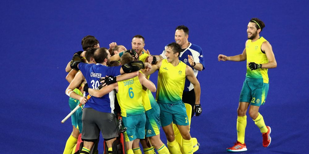 The Kookaburras celebrate victory. Picture: Getty Images