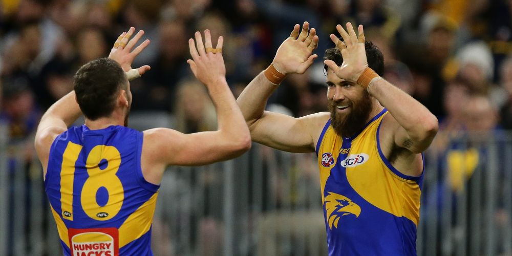 Josh Kennedy celebrates after scoring a goal against Gold Coast at Optus Stadium on Saturday night. Picture: Will Russell/AFL Media/Getty Images