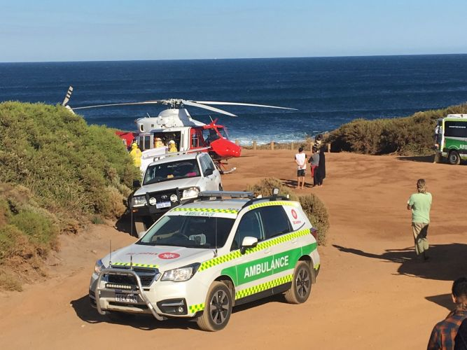 Emergency services at the scene of the Gracetown shark attack this morning. Picture: ABC/Twitter.