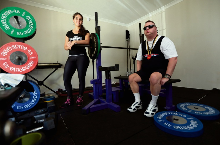 David James (Banksia Grove, seated) and his power lifting coach Clarecia Murray (Lifters Den). Picture: Martin Kennealey d481619
