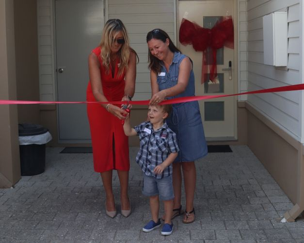 Ronald McDonald House Perth chairperson Janiene Pollock, Spencer Gummery (4) and Dionee Gummery at the opening of the new Ronald McDonald House family retreat in Busselton. Picture: Supplied