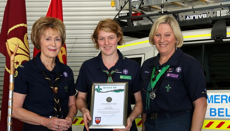 Outgoing WA Governor Kerry Sanderson, SES Belmont Unit team leader Sarah Hamilton and Scout WA chief commissioner Barbara de la Hunty at the launch of the new badge.