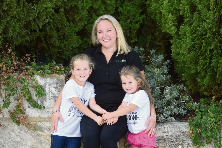Healthy Hips Australia founder Sarah Twomey with daughters Eve (6) and Maya (4). Picture: Jon Hewson d481801