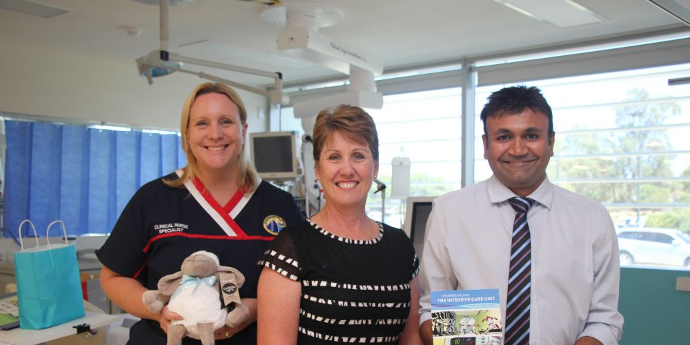 Rockingham General Hospital's ICU acting nurse unit manager Jacky Lurcook, Intensive Care Foundation WA ambassador Sharon Knapp and ICU head of department Dr Ravi Sonawane.